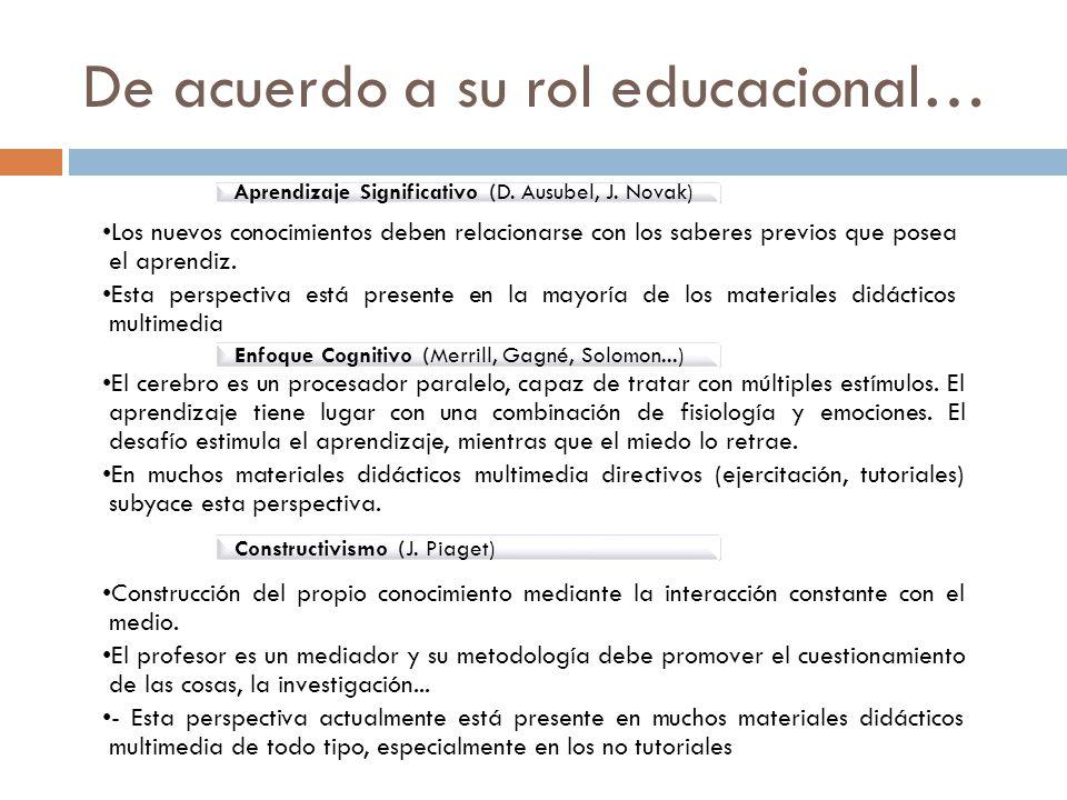 De acuerdo a su rol educacional… Los nuevos conocimientos deben relacionarse con los saberes previos que posea el aprendiz.