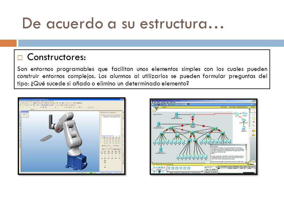 De acuerdo a su estructura… Constructores: Son entornos programables que facilitan unos elementos simples con los cuales pueden construir entornos complejos.