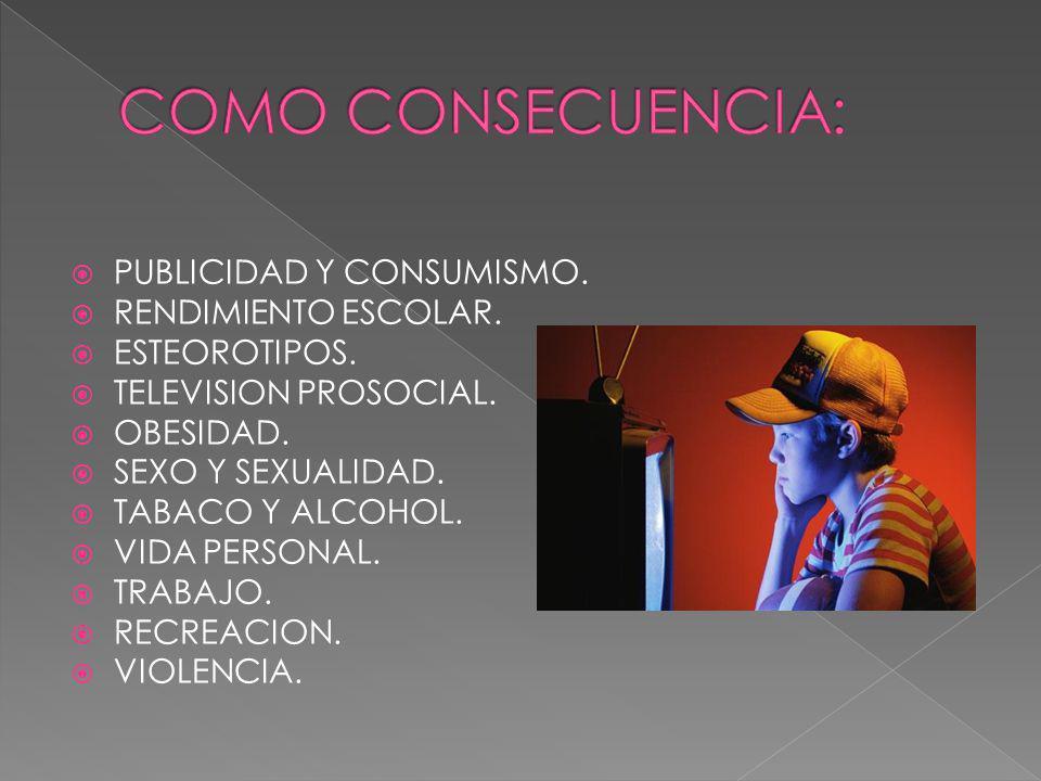 PUBLICIDAD Y CONSUMISMO. RENDIMIENTO ESCOLAR. ESTEOROTIPOS. TELEVISION PROSOCIAL. OBESIDAD. SEXO Y SEXUALIDAD. TABACO Y ALCOHOL. VIDA PERSONAL. TRABAJ