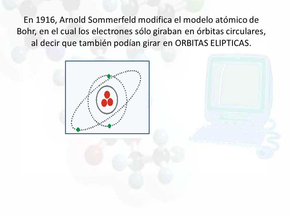 En 1916, Arnold Sommerfeld modifica el modelo atómico de Bohr, en el cual los electrones sólo giraban en órbitas circulares, al decir que también podí
