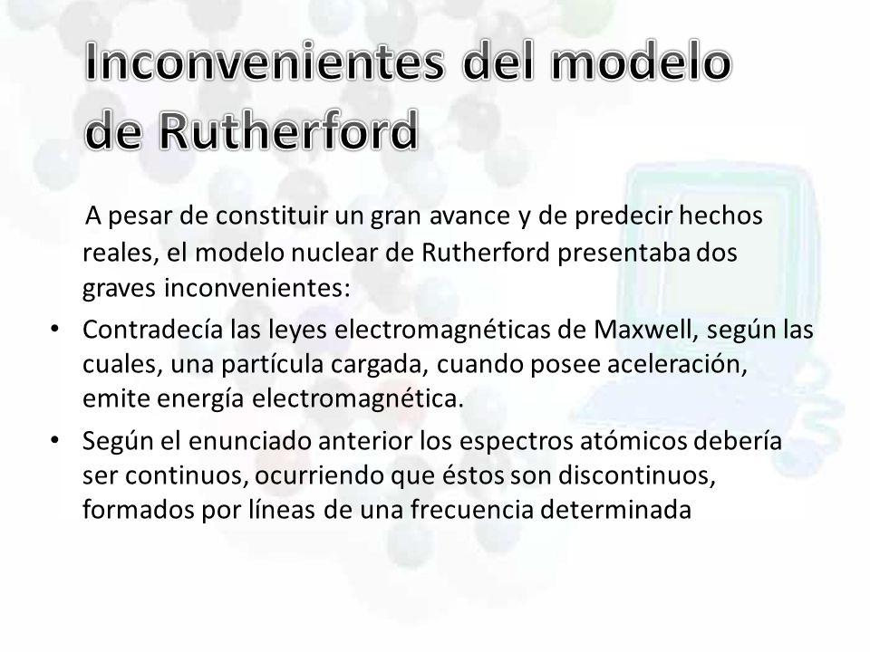 A pesar de constituir un gran avance y de predecir hechos reales, el modelo nuclear de Rutherford presentaba dos graves inconvenientes: Contradecía la