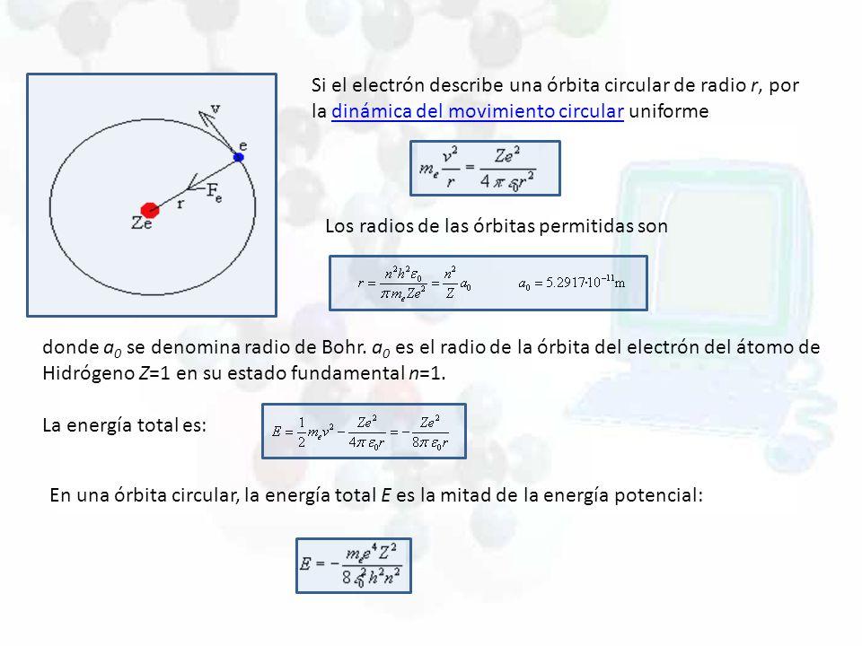 Si el electrón describe una órbita circular de radio r, por la dinámica del movimiento circular uniformedinámica del movimiento circular Los radios de