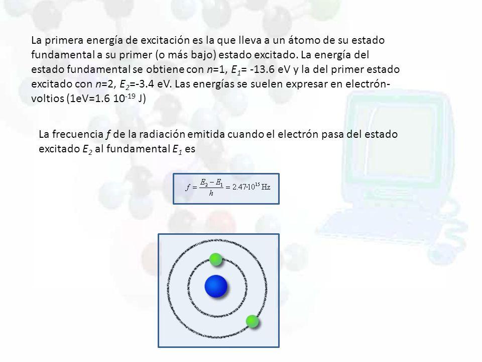 La primera energía de excitación es la que lleva a un átomo de su estado fundamental a su primer (o más bajo) estado excitado. La energía del estado f