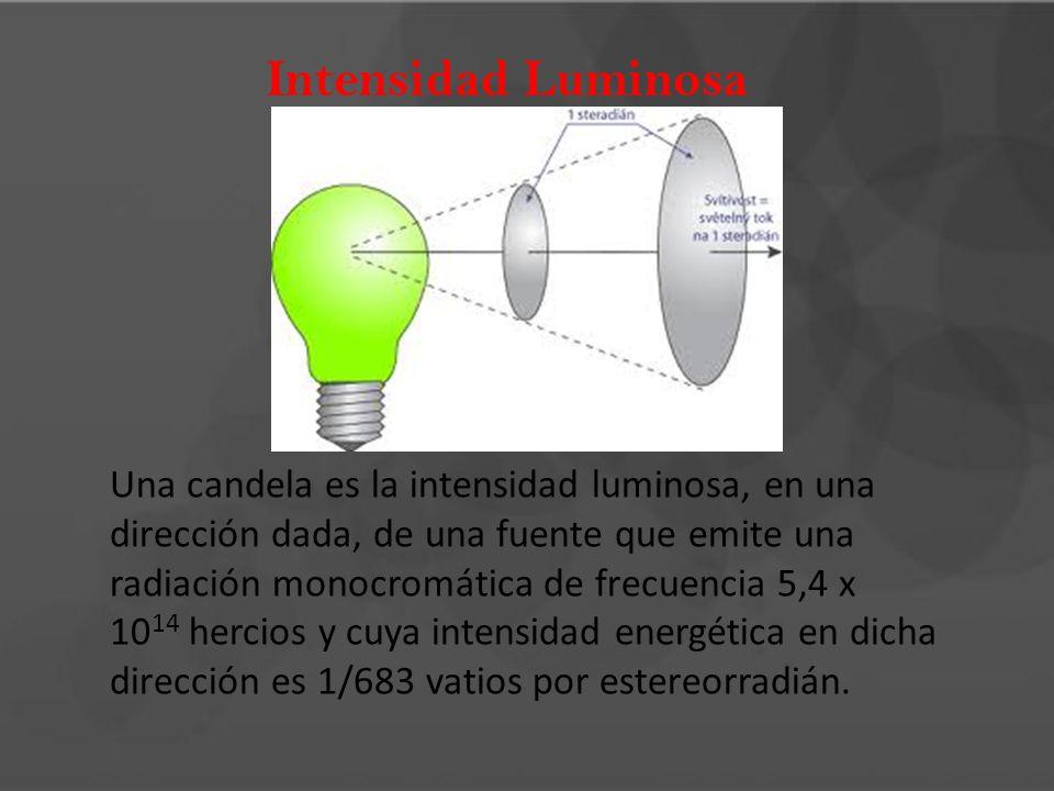 Intensidad Luminosa Una candela es la intensidad luminosa, en una dirección dada, de una fuente que emite una radiación monocromática de frecuencia 5,
