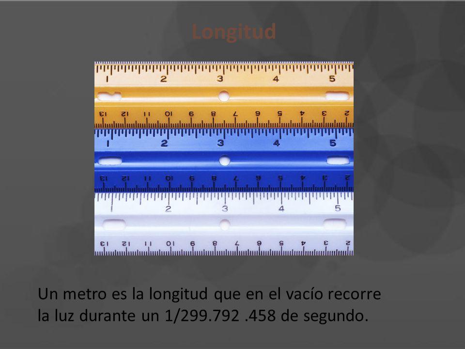 Longitud Un metro es la longitud que en el vacío recorre la luz durante un 1/299.792.458 de segundo.