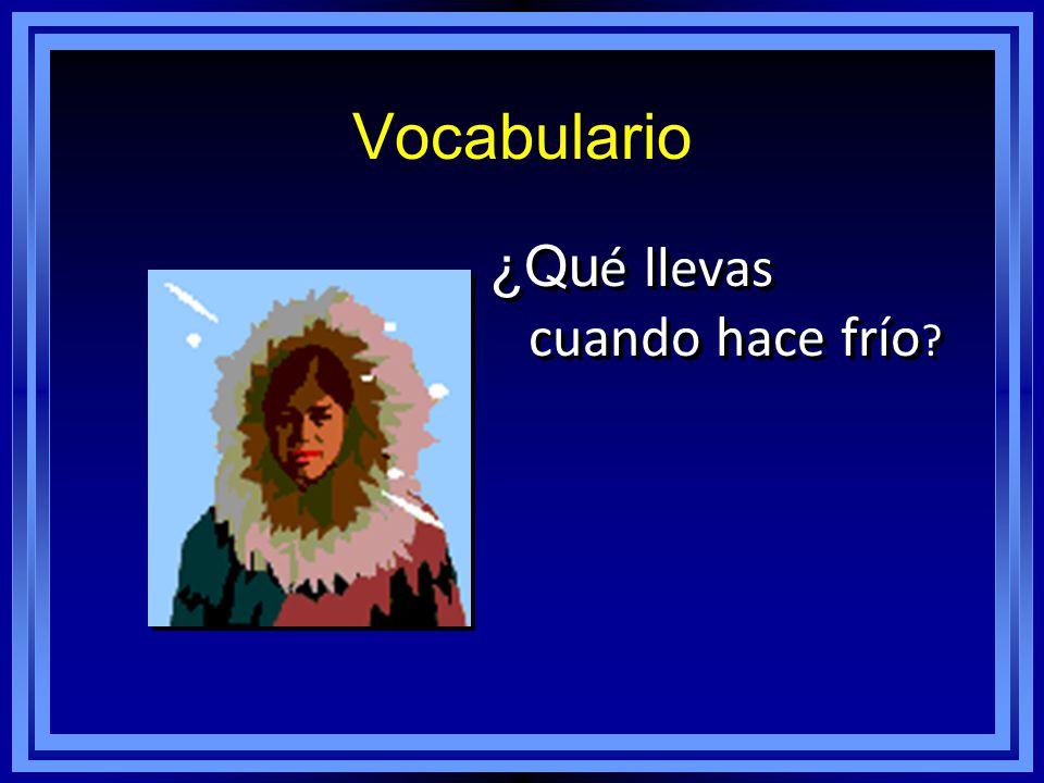 Vocabulario ¿Qu é llevas cuando hace frío ?