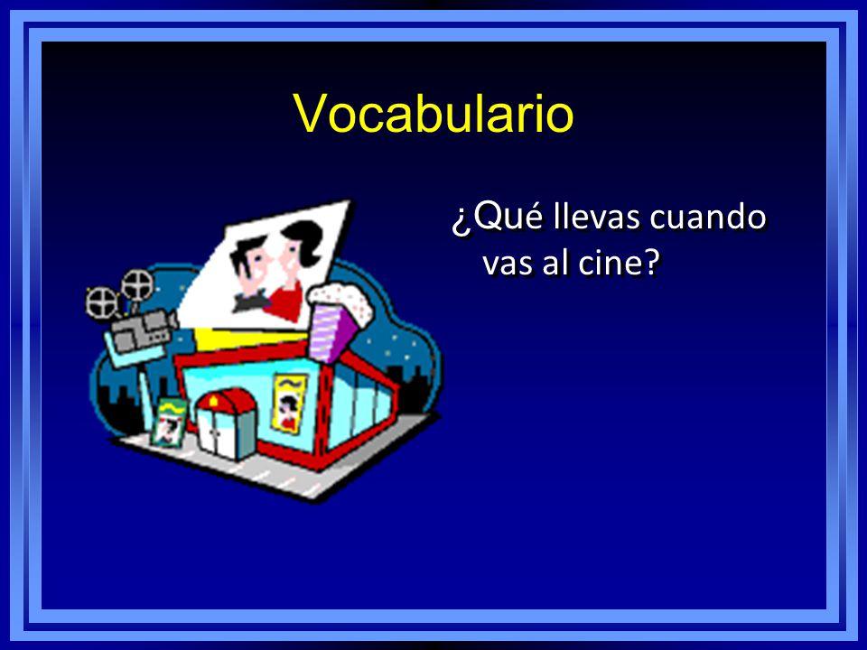 Vocabulario ¿Qu é llevas cuando vas al cine?