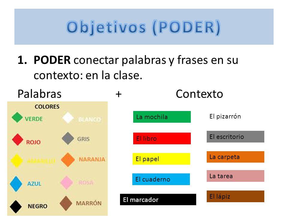 1.PODER conectar palabras y frases en su contexto: en la clase.