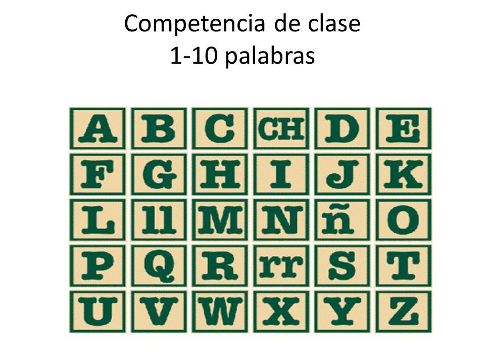Competencia de clase 1-10 palabras