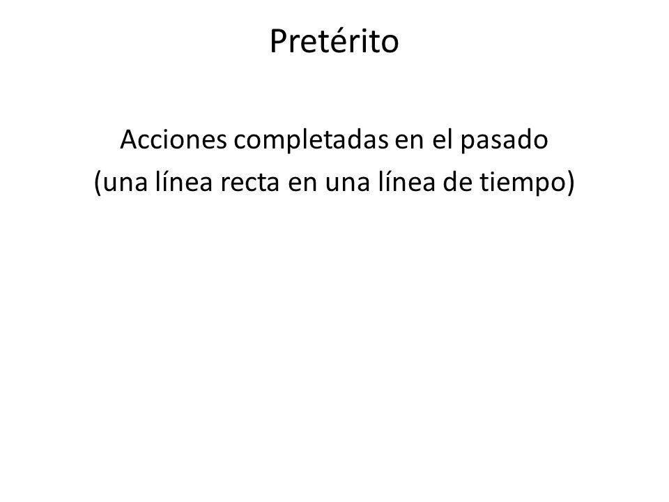 Pretérito Acciones completadas en el pasado (una línea recta en una línea de tiempo)