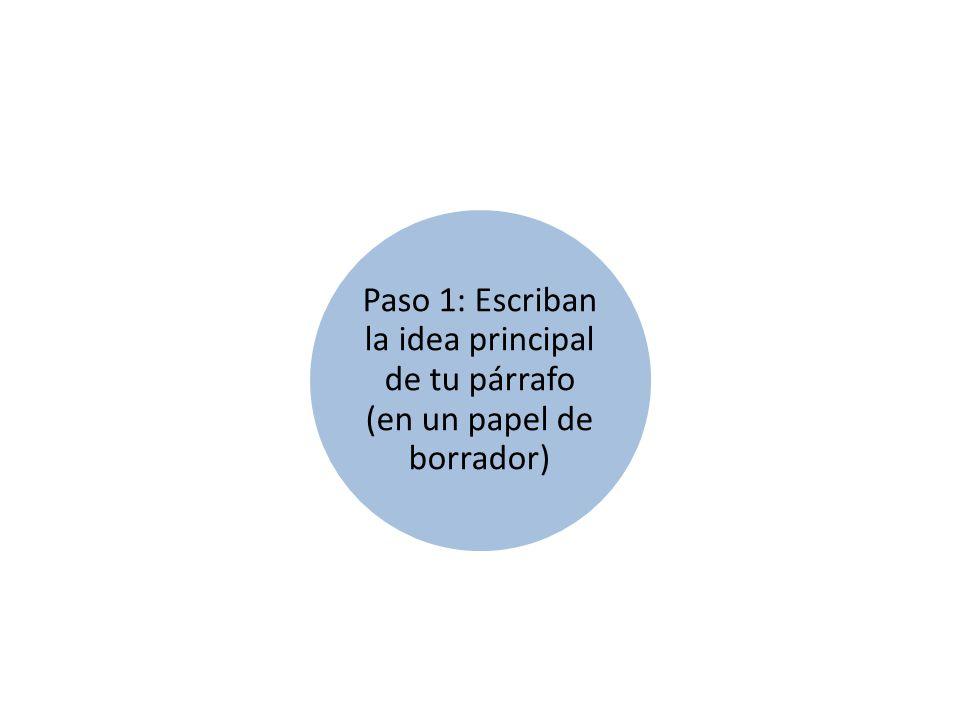 Paso 1: Escriban la idea principal de tu párrafo (en un papel de borrador)