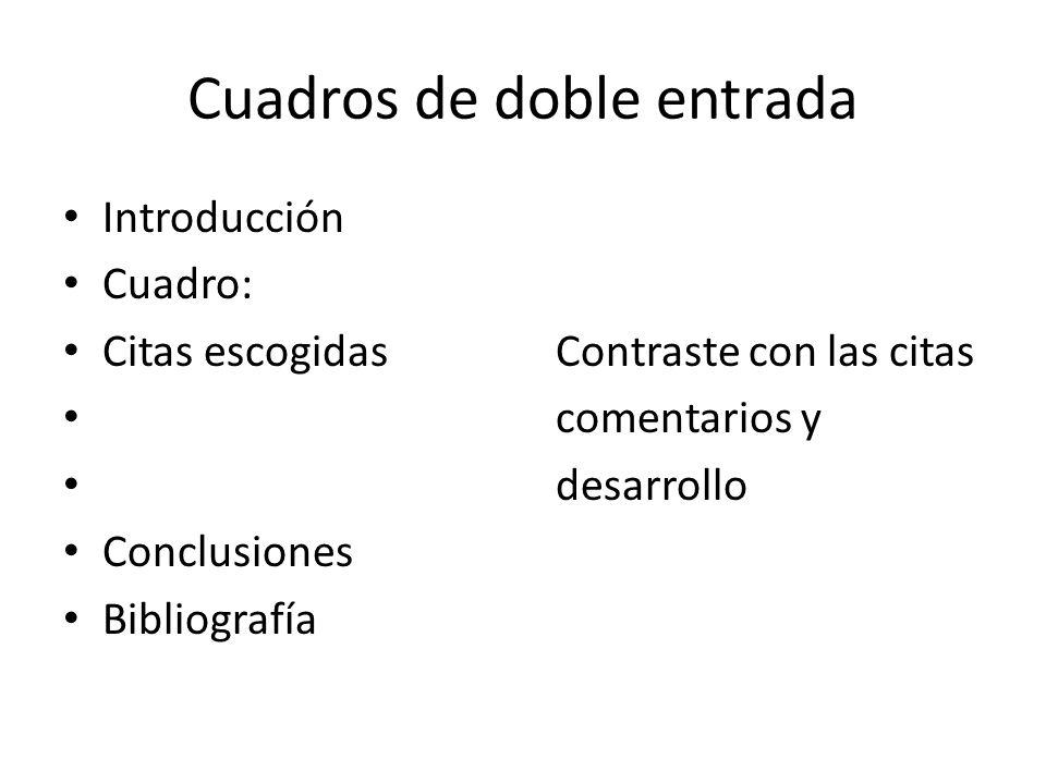 Cuadros de doble entrada Introducción Cuadro: Citas escogidas Contraste con las citas comentarios y desarrollo Conclusiones Bibliografía