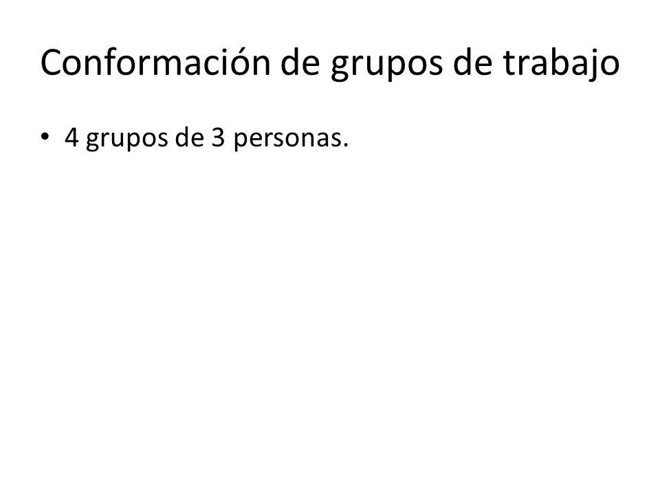 Conformación de grupos de trabajo 4 grupos de 3 personas.