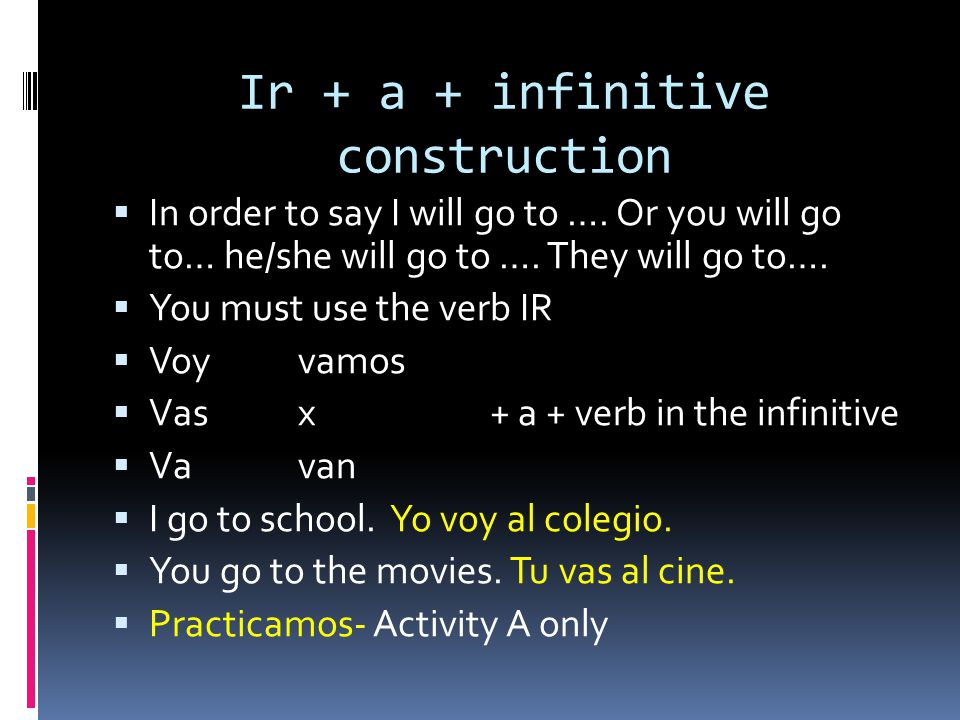Ir + a + infinitive construction In order to say I will go to …. Or you will go to… he/she will go to …. They will go to…. You must use the verb IR Vo
