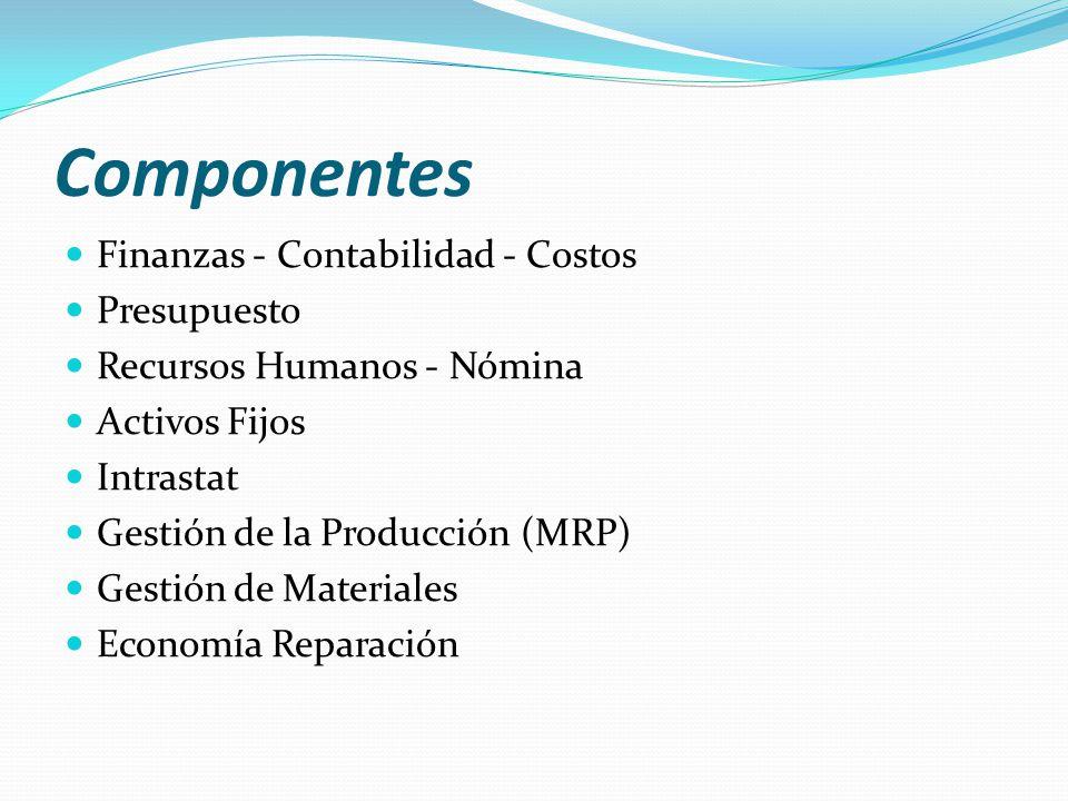 Componentes Finanzas - Contabilidad - Costos Presupuesto Recursos Humanos - Nómina Activos Fijos Intrastat Gestión de la Producción (MRP) Gestión de M