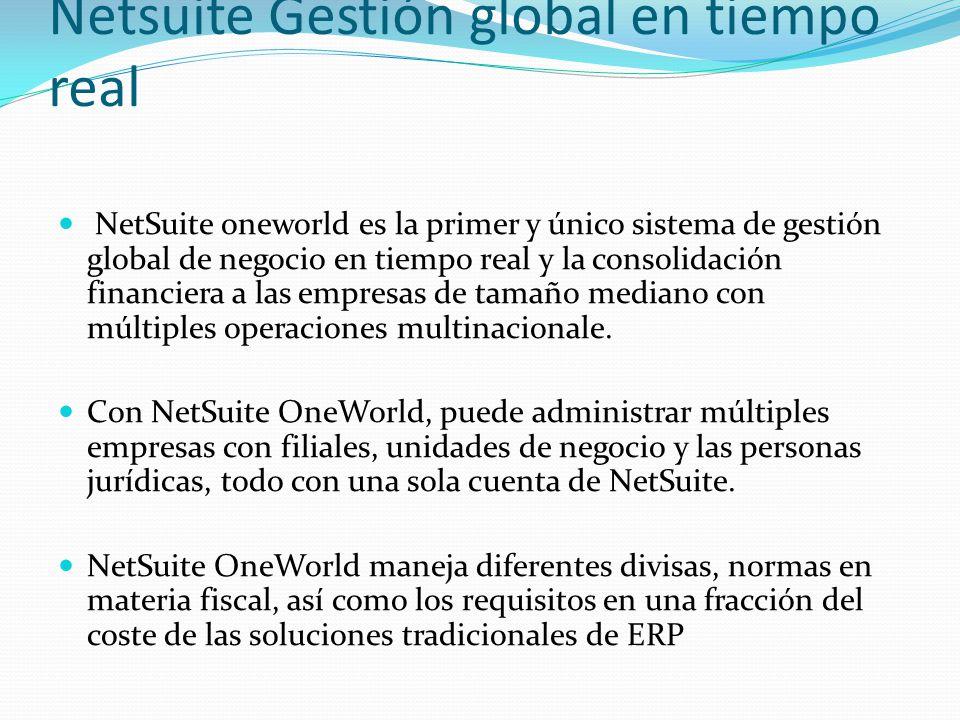 Netsuite Gestión global en tiempo real NetSuite oneworld es la primer y único sistema de gestión global de negocio en tiempo real y la consolidación f