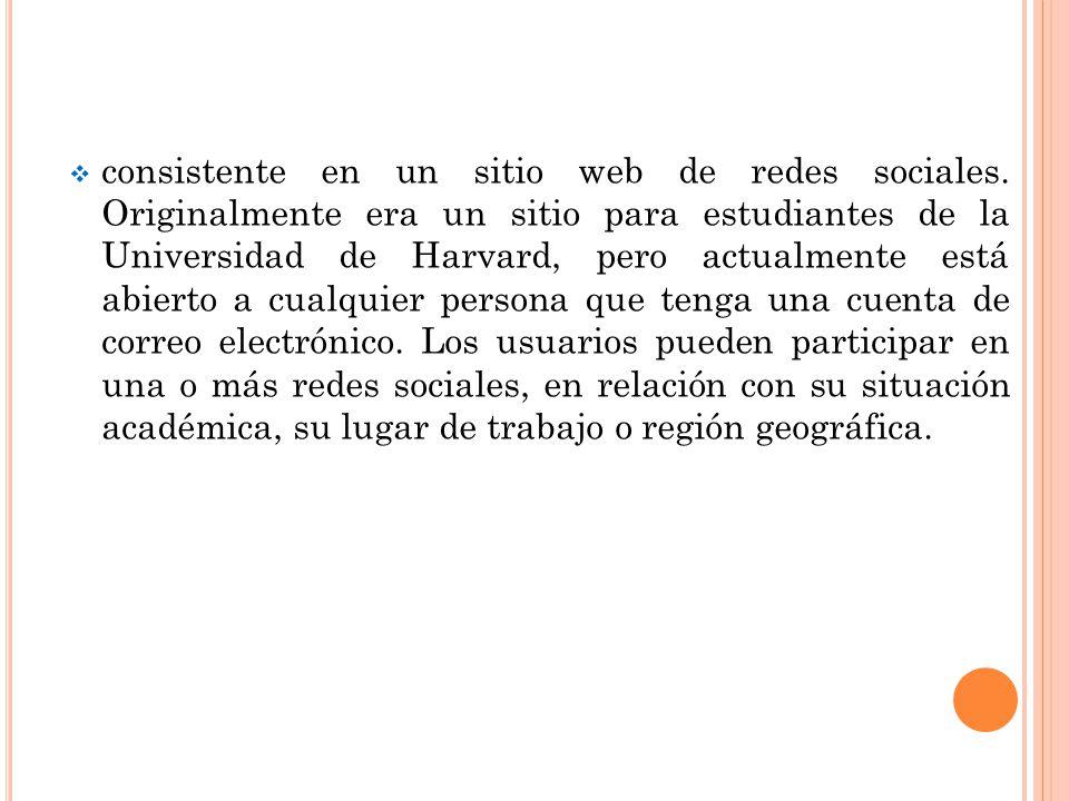 consistente en un sitio web de redes sociales. Originalmente era un sitio para estudiantes de la Universidad de Harvard, pero actualmente está abierto