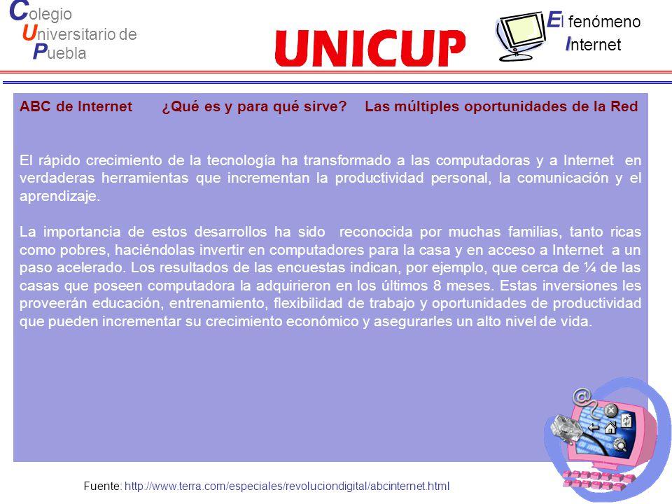 C olegio U niversitario de P uebla E l fenómeno I I nternet ABC de Internet ¿Qué es y para qué sirve.