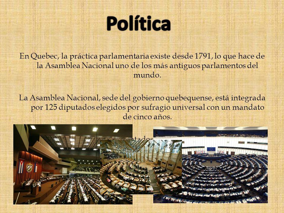 En Quebec, la práctica parlamentaria existe desde 1791, lo que hace de la Asamblea Nacional uno de los más antiguos parlamentos del mundo. La Asamblea
