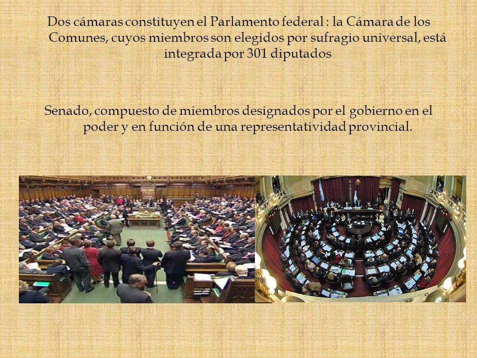 Dos cámaras constituyen el Parlamento federal : la Cámara de los Comunes, cuyos miembros son elegidos por sufragio universal, está integrada por 301 diputados Senado, compuesto de miembros designados por el gobierno en el poder y en función de una representatividad provincial.