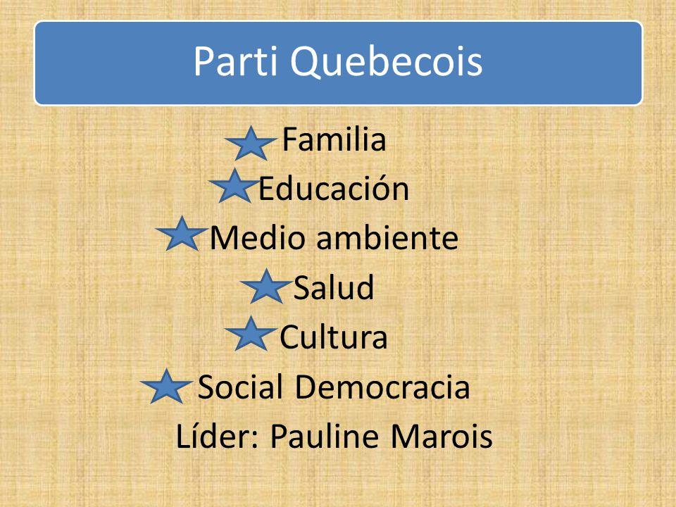 Parti Quebecois Familia Educación Medio ambiente Salud Cultura Social Democracia Líder: Pauline Marois
