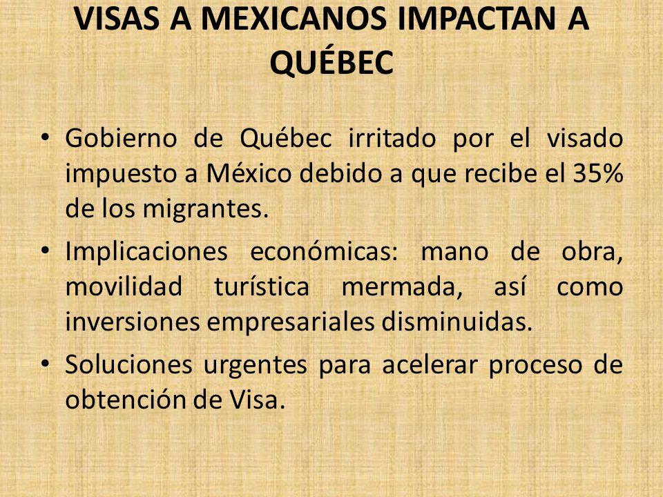 VISAS A MEXICANOS IMPACTAN A QUÉBEC Gobierno de Québec irritado por el visado impuesto a México debido a que recibe el 35% de los migrantes. Implicaci