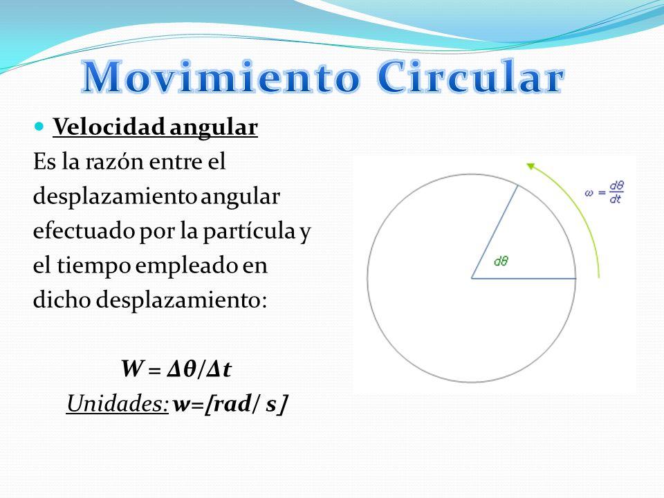 Aceleración angular: Es la razón entre la variación de la velocidad angular que experimenta una partícula y el intervalo de tiempo en que se produjo: α = Δw/Δt Unidades: α = rad/s^2
