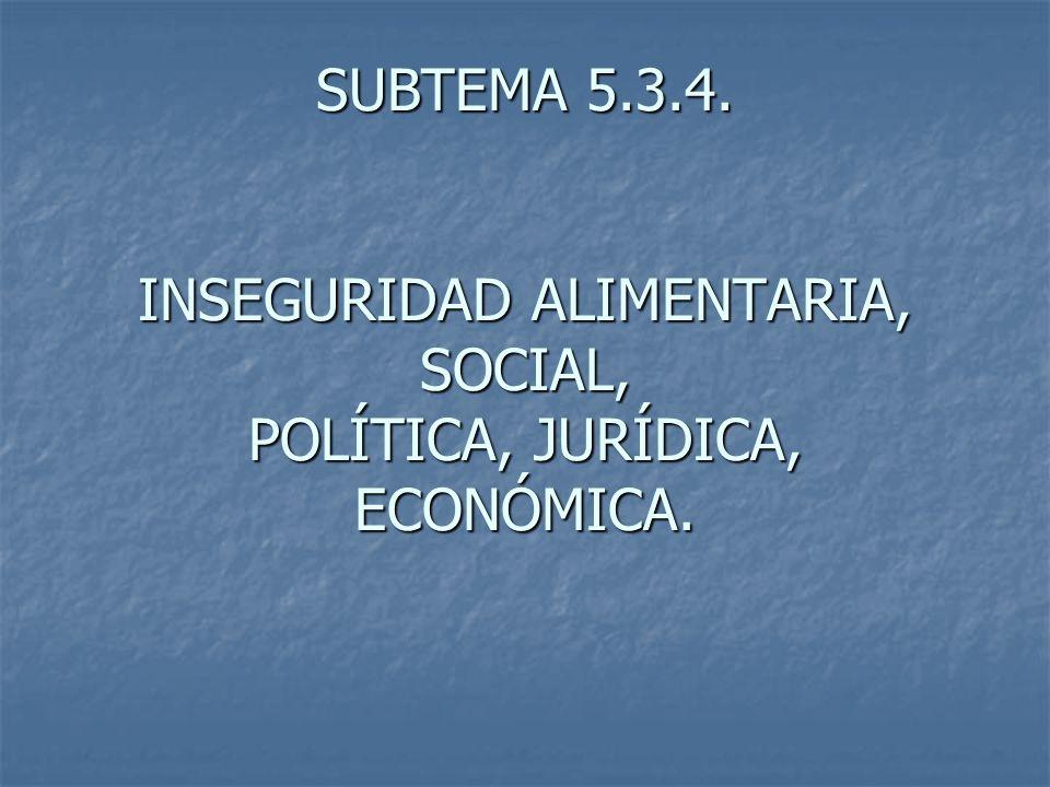SUBTEMA 5.3.4. INSEGURIDAD ALIMENTARIA, SOCIAL, POLÍTICA, JURÍDICA, ECONÓMICA.