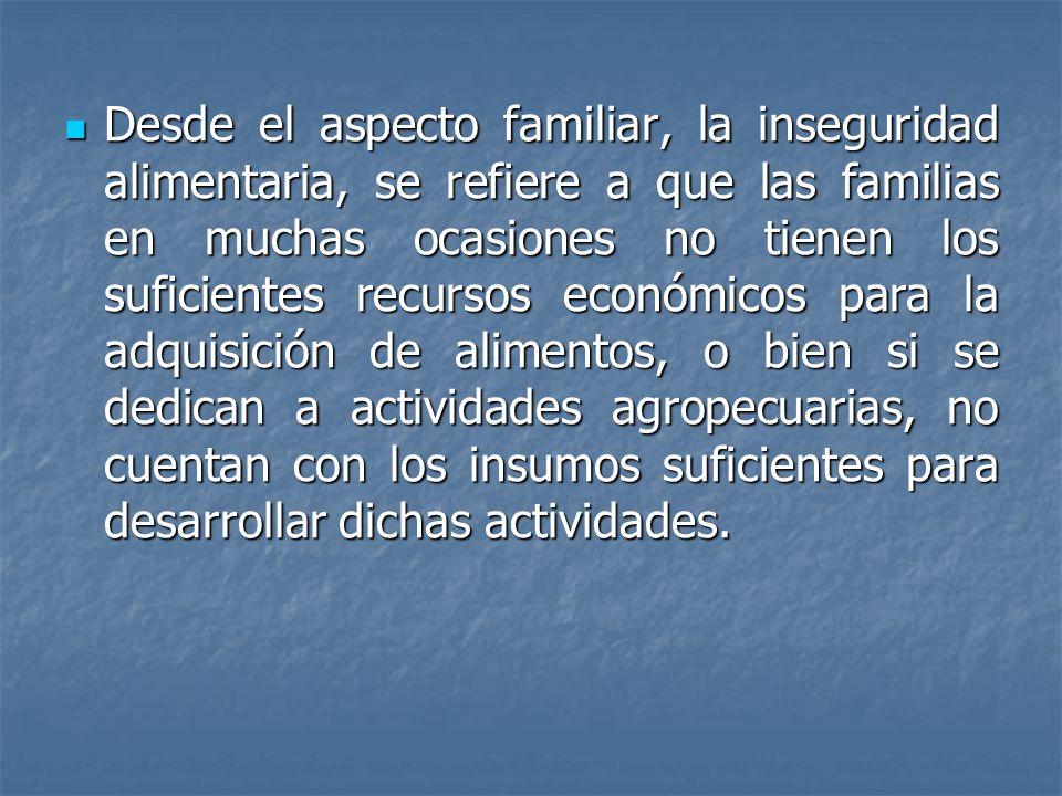 Desde el aspecto familiar, la inseguridad alimentaria, se refiere a que las familias en muchas ocasiones no tienen los suficientes recursos económicos