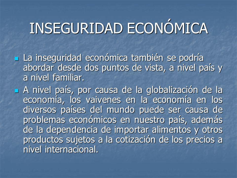 INSEGURIDAD ECONÓMICA La inseguridad económica también se podría abordar desde dos puntos de vista, a nivel país y a nivel familiar. La inseguridad ec