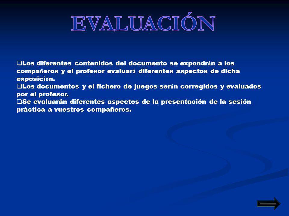 Los diferentes contenidos del documento se expondr á n a los compa ñ eros y el profesor evaluar á diferentes aspectos de dicha exposici ó n.