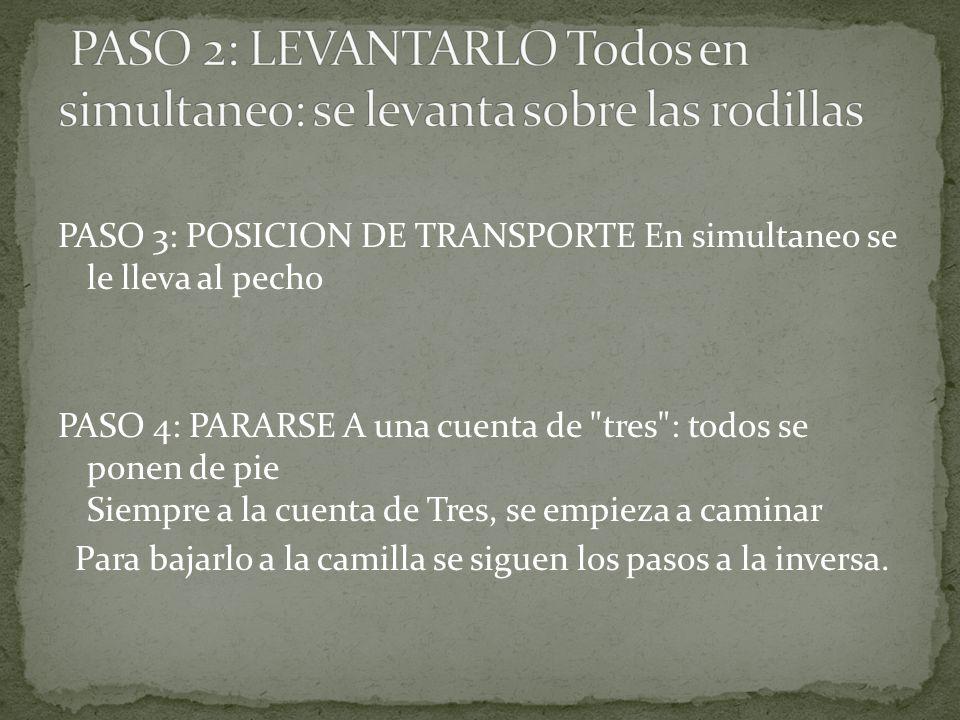 PASO 3: POSICION DE TRANSPORTE En simultaneo se le lleva al pecho PASO 4: PARARSE A una cuenta de