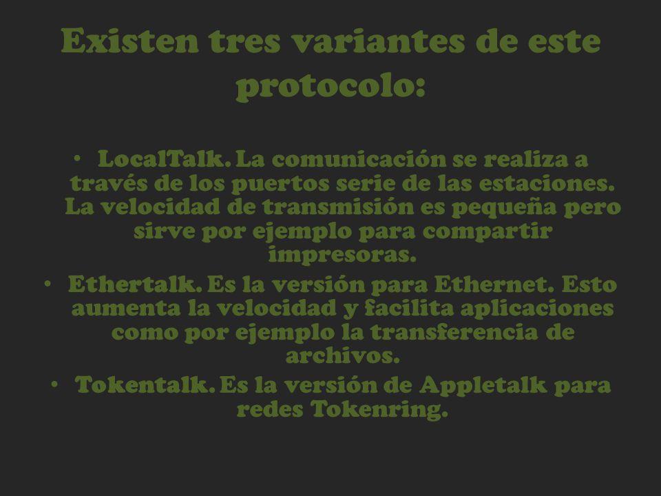 Existen tres variantes de este protocolo: LocalTalk. La comunicación se realiza a través de los puertos serie de las estaciones. La velocidad de trans