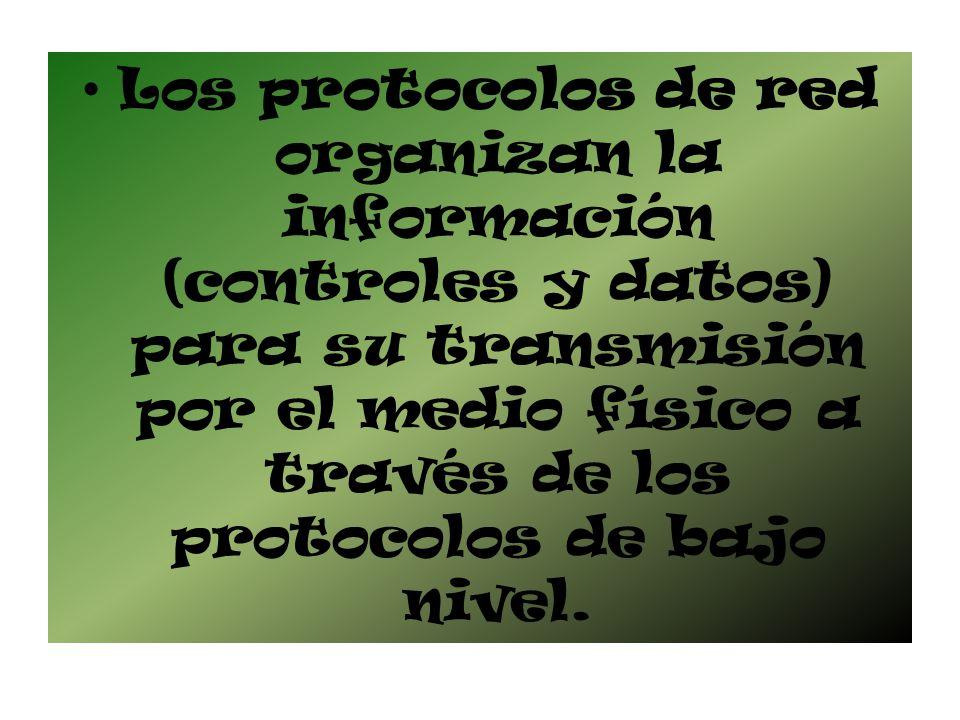 Los protocolos de red organizan la información (controles y datos) para su transmisión por el medio físico a través de los protocolos de bajo nivel.