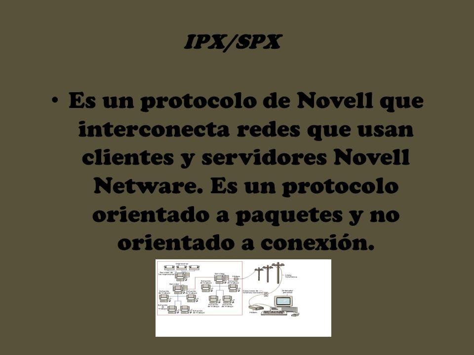 Es un protocolo de Novell que interconecta redes que usan clientes y servidores Novell Netware. Es un protocolo orientado a paquetes y no orientado a