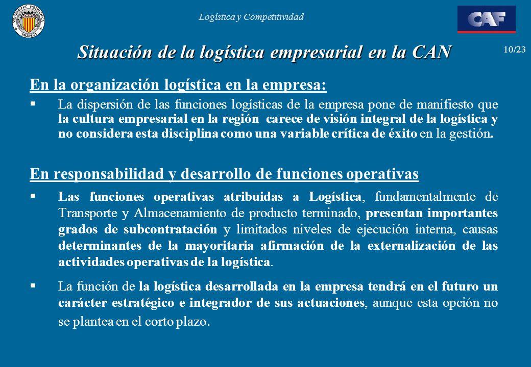 Logística y Competitividad 10/23 Situación de la logística empresarial en la CAN En la organización logística en la empresa: La dispersión de las func