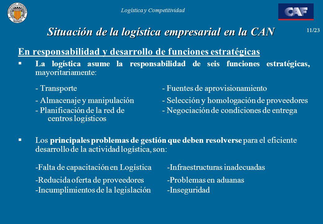 Logística y Competitividad 11/23 Situación de la logística empresarial en la CAN En responsabilidad y desarrollo de funciones estratégicas La logístic