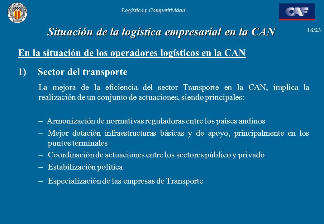 Logística y Competitividad 16/23 Situación de la logística empresarial en la CAN En la situación de los operadores logísticos en la CAN 1) Sector del
