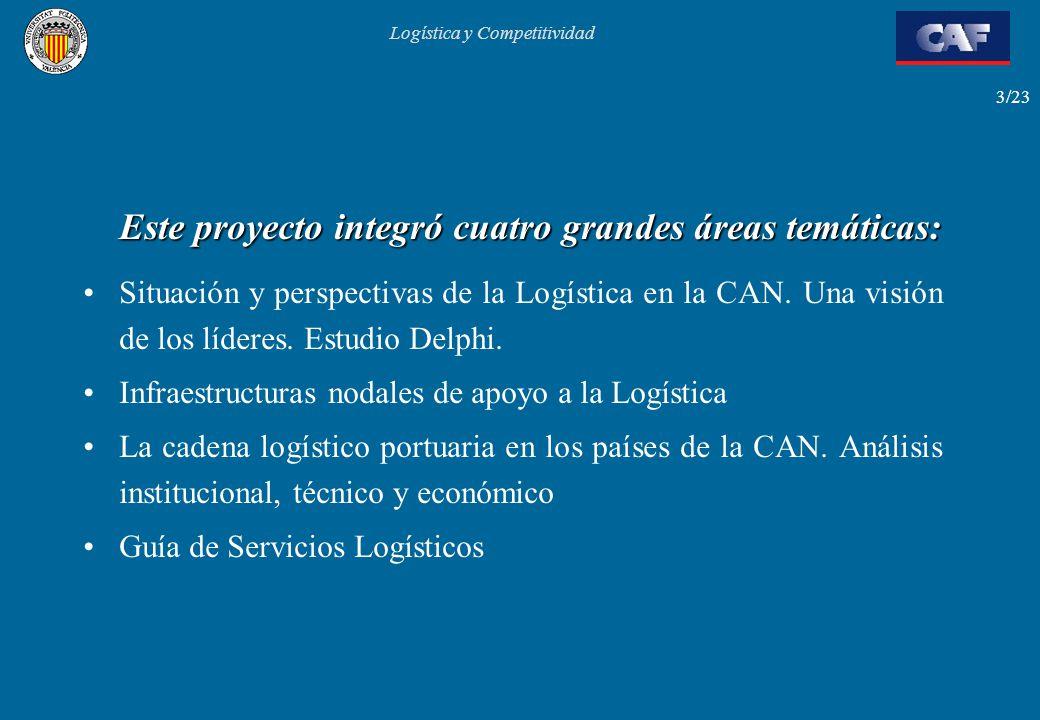Logística y Competitividad 3/23 Este proyecto integró cuatro grandes áreas temáticas: Situación y perspectivas de la Logística en la CAN. Una visión d