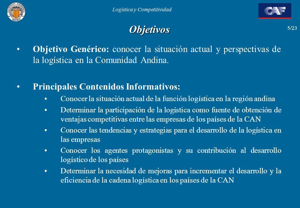 Logística y Competitividad 5/23 Objetivos Objetivo Genérico: conocer la situación actual y perspectivas de la logística en la Comunidad Andina. Princi