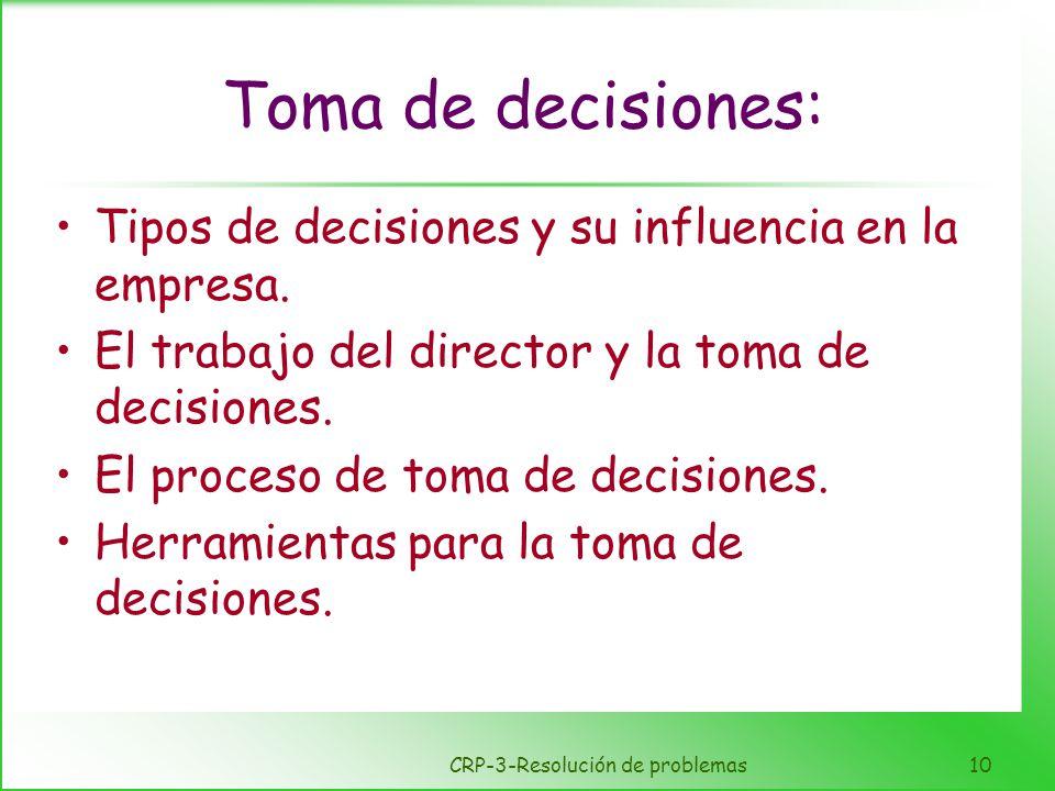 CRP-3-Resolución de problemas10 Toma de decisiones: Tipos de decisiones y su influencia en la empresa. El trabajo del director y la toma de decisiones