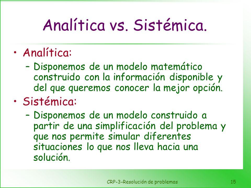 CRP-3-Resolución de problemas15 Analítica vs. Sistémica. Analítica: –Disponemos de un modelo matemático construido con la información disponible y del