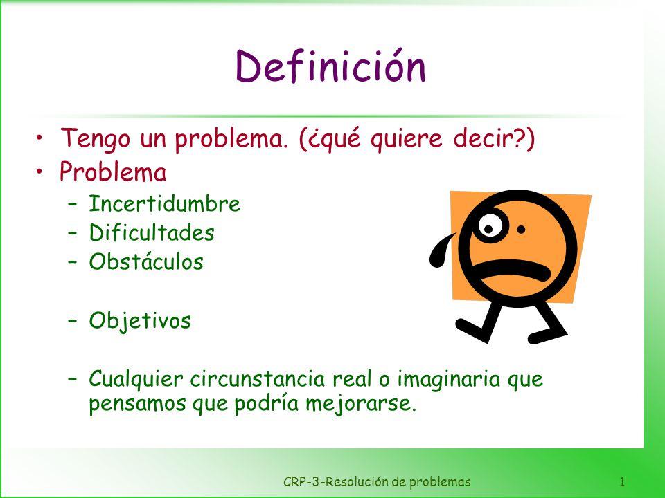 CRP-3-Resolución de problemas1 Definición Tengo un problema. (¿qué quiere decir?) Problema –Incertidumbre –Dificultades –Obstáculos –Objetivos –Cualqu