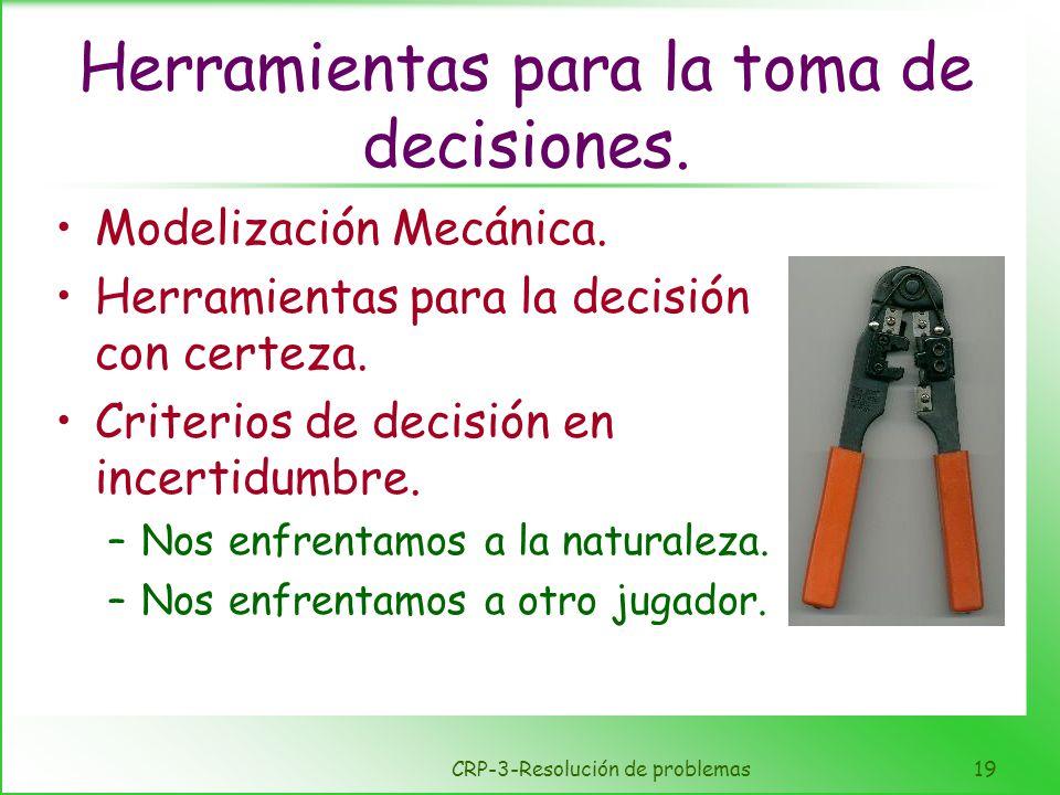 CRP-3-Resolución de problemas19 Herramientas para la toma de decisiones. Modelización Mecánica. Herramientas para la decisión con certeza. Criterios d