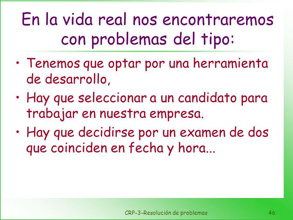 CRP-3-Resolución de problemas46 En la vida real nos encontraremos con problemas del tipo: Tenemos que optar por una herramienta de desarrollo, Hay que