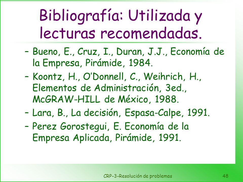 CRP-3-Resolución de problemas48 Bibliografía: Utilizada y lecturas recomendadas. –Bueno, E., Cruz, I., Duran, J.J., Economía de la Empresa, Pirámide,