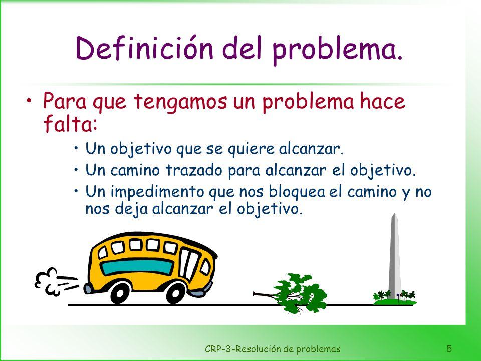 CRP-3-Resolución de problemas5 Definición del problema. Para que tengamos un problema hace falta: Un objetivo que se quiere alcanzar. Un camino trazad