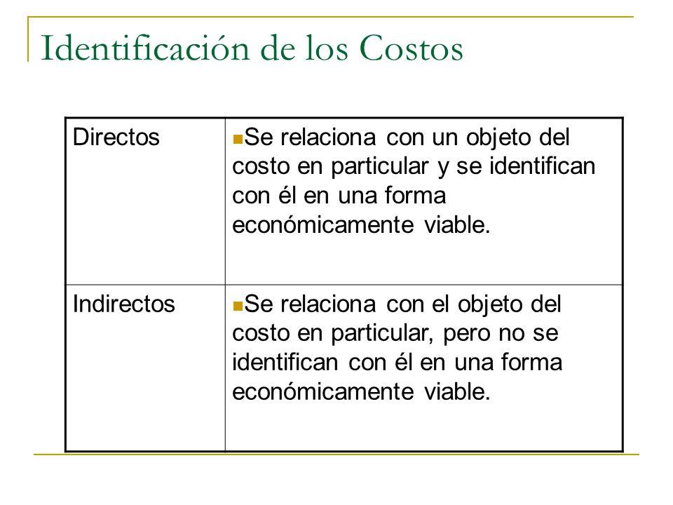 Identificación de los Costos Directos Se relaciona con un objeto del costo en particular y se identifican con él en una forma económicamente viable. I