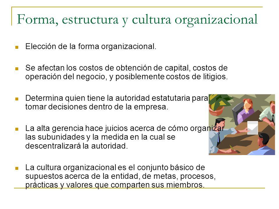 Forma, estructura y cultura organizacional Elección de la forma organizacional. Se afectan los costos de obtención de capital, costos de operación del