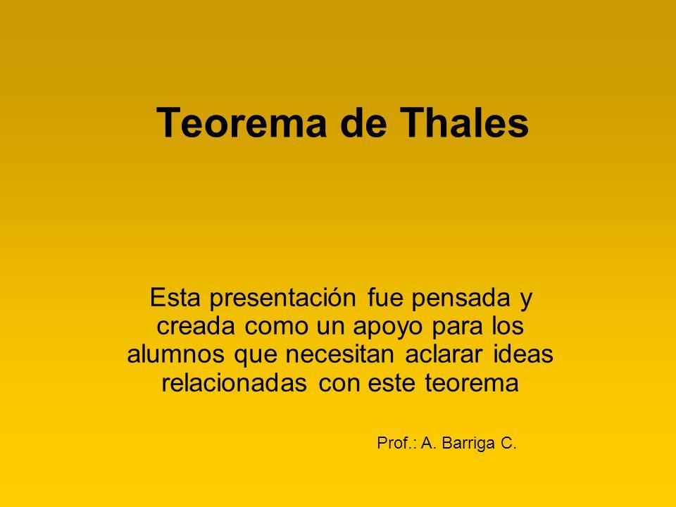 Teorema de Thales Esta presentación fue pensada y creada como un apoyo para los alumnos que necesitan aclarar ideas relacionadas con este teorema Prof
